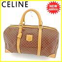 【中古】 セリーヌ ボストンバッグ トラベルバッグ 旅行用バッグ Celine ブラウン ベージュ ゴールド T5173s .