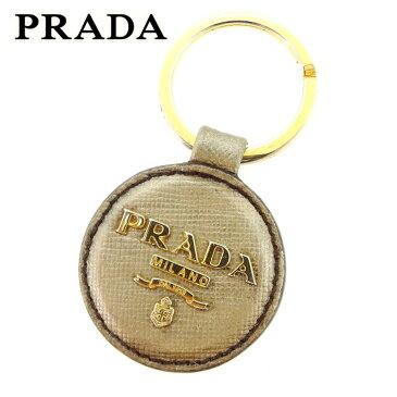【中古】 プラダ PRADA キーホルダー キーリング レディース メンズ 可 ロゴマーク ゴールド レザー×ゴールド金具 人気 セール D1840 .