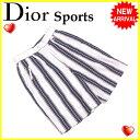 クリスチャンディオールスポーツ Christian Dior Sports パンツ ハーフ レディース ♯Mサイズ ストライプ ホワイト×ネイビー系 綿/100%(裏地)ポリエステル/100% 【中古】 G946
