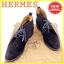 【お買い物マラソン】 【中古】 エルメス HERMES ブーツ シューズ 靴 レディース ショート丈 チャッカブーツ ブラック スエード 人気 T4180 .