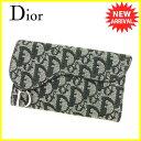 【お買い物マラソン】 【中古】 ディオール 長財布 三つ折り 財布 Dior ブラック T4899s