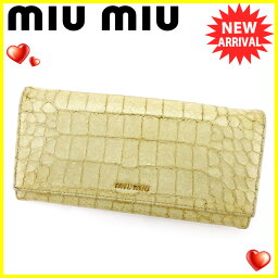 MIUMIU【ミュウミュウ】 長財布(小銭入れあり) 型押しレザー レディース