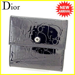 Dior【ディオール】 二つ折り財布(小銭入れあり) /エナメルレザー