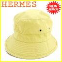 【中古】 エルメス HERMES 帽子 ♯61サイズ レディース メンズ 可 MOTSCH モッチ社製 ハット イエロー シルバー コットン100% 人気 T5551 .