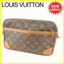 【中古】 ルイ ヴィトン クラッチバッグ セカンドバッグ Louis Vuitton ブラウン ベージュ ゴールド T6068s .