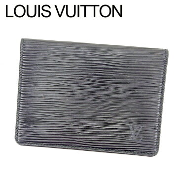 【中古】 ルイ ヴィトン LOUIS VUITTON 定期入れ パスケース レディース メンズ 可 ポルト 2カルト ヴェルティカル エピ ブラック PVC×レザ- 人気 良品 T6466 .