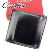27a2a171be0d 【中古】 カルティエ Cartier 二つ折り 財布 財布 ブラック パシャ レディース メンズ 可 T6733s