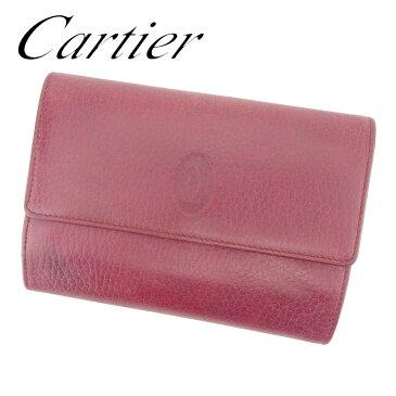 【中古】 カルティエ がま口 財布 さいふ 三つ折り 財布 さいふ マストライン ボルドー レザー Cartier T7281