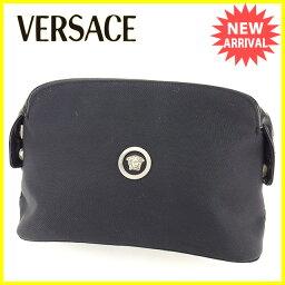 Gianni Versace【ジャンニ・ヴェルサーチ】 セカンドバッグ /キャンバス×エナメルレザー レディース