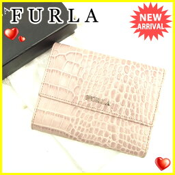 CROCODILE【クロコダイル】 三つ折り財布(小銭入れあり) /型押しレザー レディース