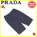 プラダ PRADA パンツ レディース ♯38サイズ ハーフ丈 ネイビー 綿100% 人気 【中古】 L1307