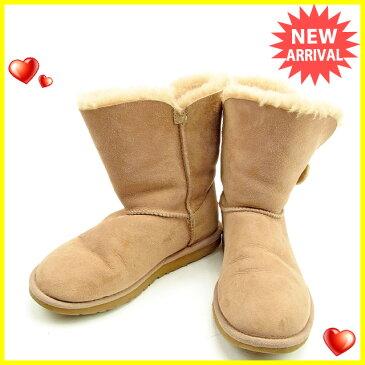 【中古】 アグ UGG ブーツ シューズ 靴 ベージュ ♯22 ムートン ベイリーボタン レディース T424s .