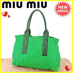 MIUMIU【ミュウミュウ】 トートバッグ /綿100%×レザー レディース