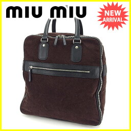 MIUMIU【ミュウミュウ】 ハンドバッグ /キャンバス×レザー レディース