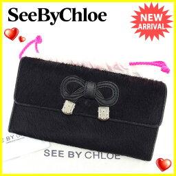 SEE BY CHLOE【シーバイクロエ】 長財布(小銭入れあり) /ハラコ レディース
