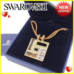 SWAROVSKI【スワロフスキー】 その他 /ゴールドメッキ×クリスタルガラス×布紐 レディース