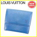 【中古】 ルイ ヴィトン Wホック財布 三つ折り財布 Louis Vuitton トレドブルー Y5892s