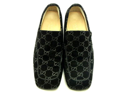 sneakers for cheap d6330 983e0 中古】 グッチ Gucci ローファー #4C ブラック GG柄 レディース ...