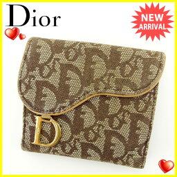 Dior【ディオール】 二つ折り財布(小銭入れあり) /キャンバス×レザー レディース