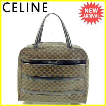 【中古】 セリーヌ Celine ハンドバッグ バック ブラック×ブラウン マカダム メンズ可 Y5657s .