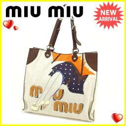 MIUMIU【ミュウミュウ】 トートバッグ /キャンバス×レザー 男女兼用