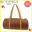 エトロ ETRO ハンドバッグ 筒型バッグ レディース ペイズリー ブラウン系×ベージュ×ゴールド 人気 セール 【中古】 J10967