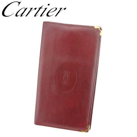 【中古】 カルティエ Cartier 長札入れ 札入れ レディース メンズ ボルドー ゴールド レザー C3433 .