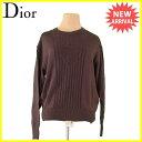【お買い物マラソン】 【中古】 ディオール Dior ニット セーター レディース メンズ 可 ♯Mサイズ スポーツライン CDロゴ ブラウン 毛100% 良品 T1112