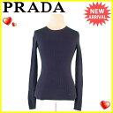 【中古】 プラダ PRADA ニット 長袖 セーター メンズ可 ♯42サイズ スポーツライン リブ ブラック系 ウール羊毛100% 訳あり T1892 .