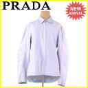 【中古】 プラダ PRADA ジャケット シャツ レディース メンズ 可 ♯Sサイズ シングルZIP ライトブルー COTTON/65%NYLON/35% 人気 T628 .