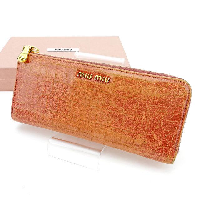 【中古】 ミュウミュウ L字ファスナー財布 さいふ 長財布 さいふ 財布 さいふ クロコダイル型押し ピンク×ゴールド レザー miu miu A1613 ブランド