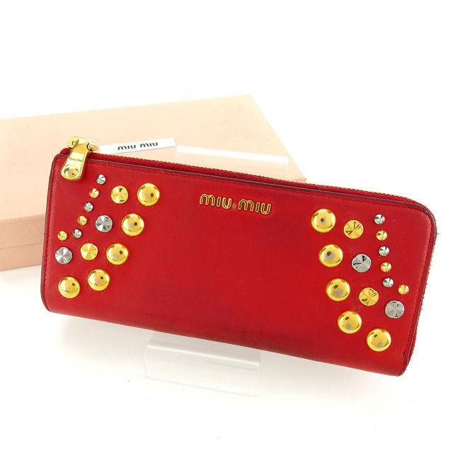 【中古】 ミュウミュウ L字ファスナー財布 さいふ 長財布 さいふ レッド×ゴールド×シルバー miumiu B836 ブランド