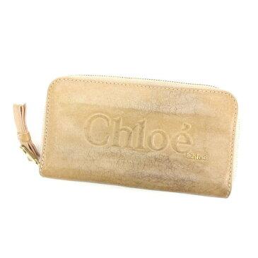 【中古】 クロエ Chlo? 長財布 財布 ラウンドファスナー ベージュ×ゴールド ロゴ入り シャドウ レディース C1897s