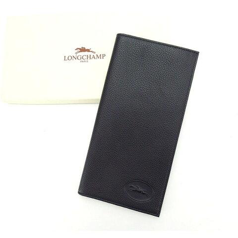 【中古】 ロンシャン LONGCHAMP 長札入れ 二つ折り レディース ブラック C2037 .