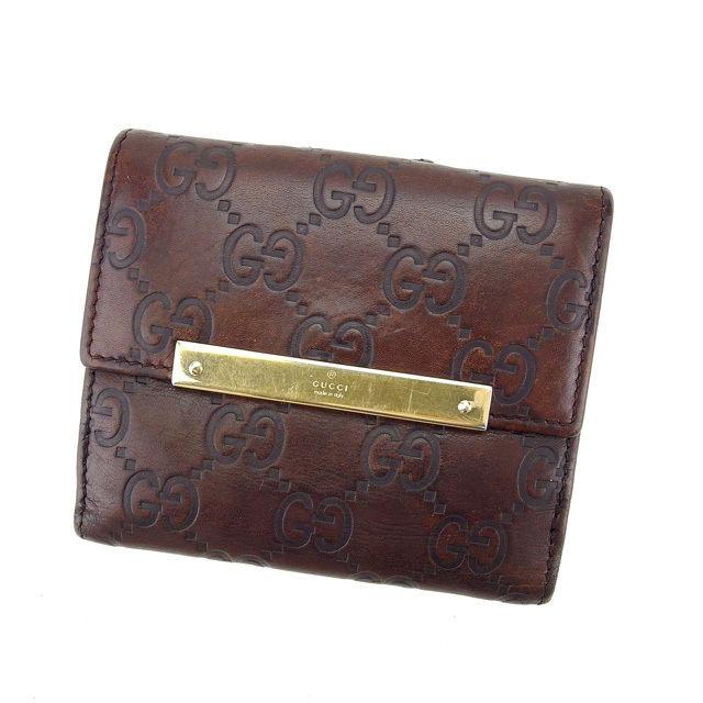 【中古】 グッチ Wホック財布 さいふ 二つ折り財布 さいふ グッチシマ ブラウン×ゴールド GUCCI E1028 ブランド