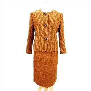 【中古】 クリスチャン ディオール Christian Dior スーツ ノーカラー ヒザ丈 レディース ♯9サイズ シングルジャケット×タイトスカート ツィード オレンジ系 人気 E1193 .