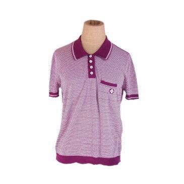 【中古】 ルイヴィトン ポロシャツ 半袖 ♯Sサイズ 胸ポケット付き ボーダー パープル×ホワイト Louis Vuitton E1211 ブランド
