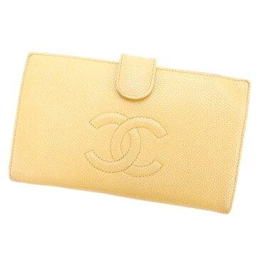 【中古】 シャネル がま口財布 さいふ 長財布 さいふ キャビアスキン×ココマーク ライトブラウン レザ- CHANEL E803 ブランド