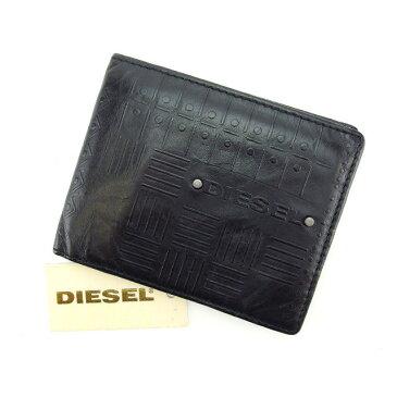 【中古】 ディーゼル DIESEL 二つ折り札入れ レディース ブラック E887 .