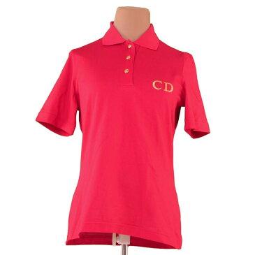 【中古】 ディオール ポロシャツ 半袖 ♯Sサイズ CD刺繍 レッド×ゴールド コットン綿100% Dior F1251 ブランド
