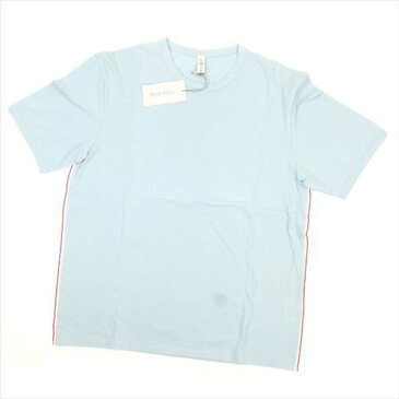 【中古】 ミュウミュウ Tシャツ 半袖 カットソー ♯Sサイズ サイドライン入り ライトブルー系 miumiu F1317 ブランド