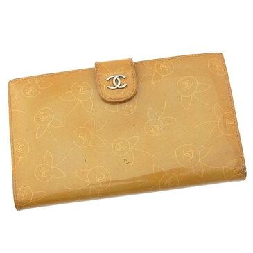 【中古】 シャネル CHANEL 長財布 がま口 二つ折り レディース ココマーク×フラワー ベージュ×シルバー エナメルレザー I221