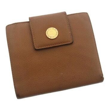 【中古】 ブルガリ 二つ折り財布 さいふ ロゴ入ボタン付き ロゴ ライトブラウン BVLGARI L070 ブランド