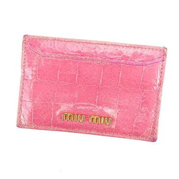 【中古】 ミュウミュウ Miu Miu カードケース パスケース ピンク×ゴールド クロコダイル調 レディース L1010s
