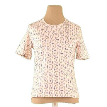 【中古】 セリーヌ Tシャツ カットソー ♯Mサイズ Cマカダム ベージュ×カーキ系 綿88%ポリウレタン12% CELINE L2277 ブランド