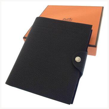 【中古】 エルメス 手帳カバー レフィル付き ユリスPM ロゴ ブラック HERMES M983 ブランド