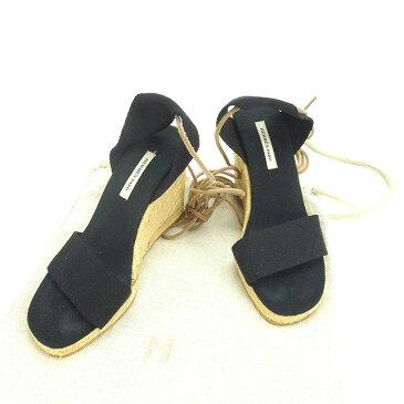 【中古】 エルメス サンダル シューズ 靴 ♯36 レースアップ ウェッジソール ブラック×ナチュラル キャンバス HERMES P213 ブランド