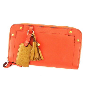 【中古】 クロエ Chlo? 長財布 財布 ラウンドファスナー オレンジ×ブラウン レザーロゴタグ レディース P548s .