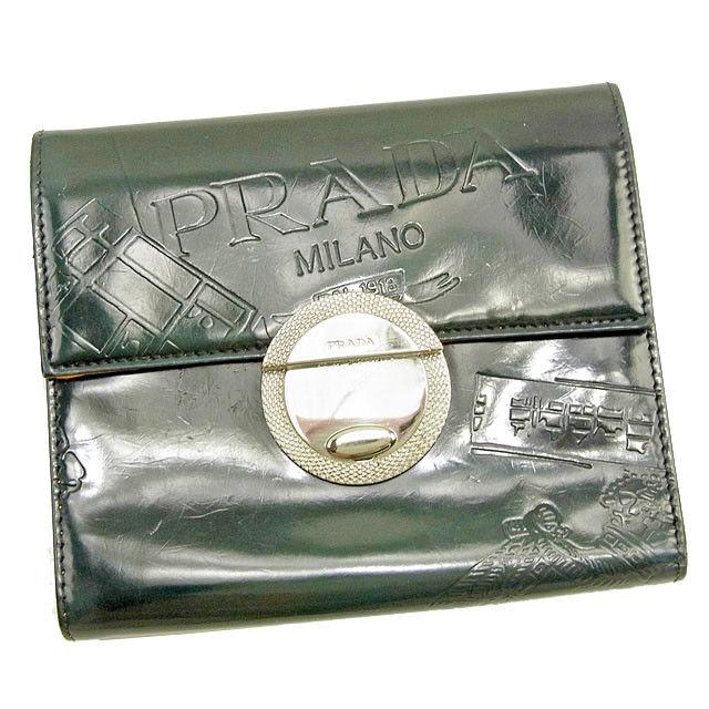 【中古】 プラダ 三つ折り財布 さいふ 財布 さいふ 型押し グリーン×イエロー パテントレザー PRADA T1223 ブランド