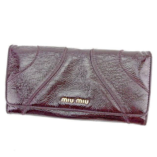 【中古】 ミュウミュウ 長財布 さいふ 財布 さいふ ブラウン パテントレザー miu miu T1554 ブランド